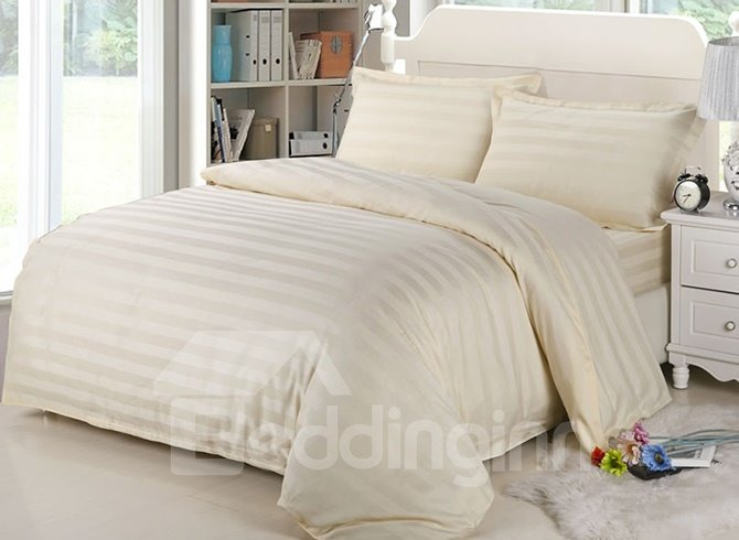Ribbon Design Cotton Beige 4-Piece Duvet Cover Sets