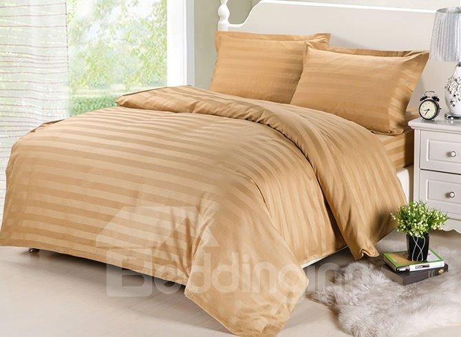 Classic Stripe Camel Cotton 4-Piece Duvet Cover Sets