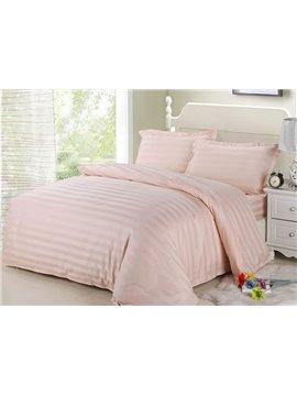 Romantic Pink Ribbon Cotton 4-Piece Duvet Cover Sets