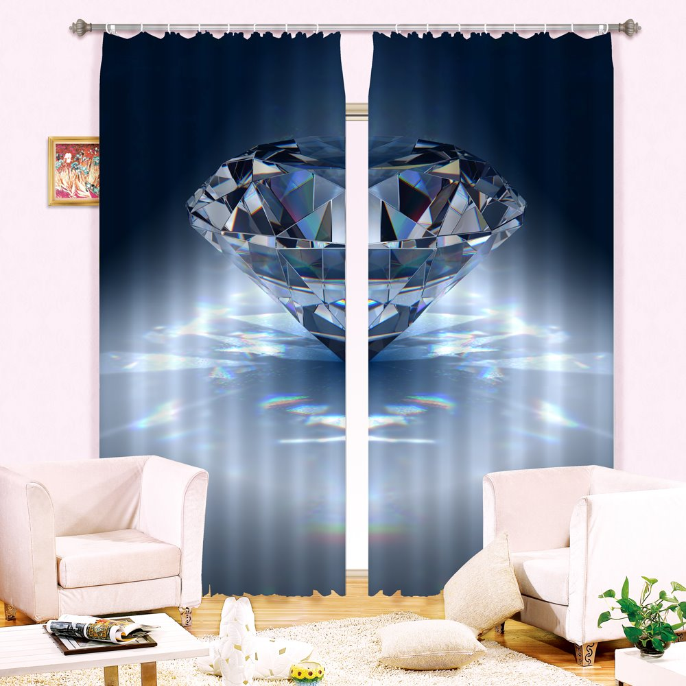 3D Beautiful Light Blue Diamond Printed Living Room Decorative and Blackout Curtain