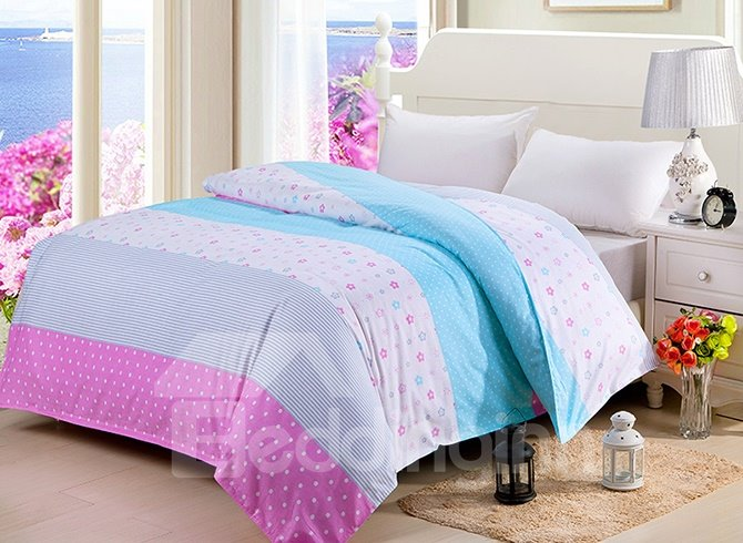 Stitching Color Adorable Dot Flower Stripe Cotton 4-Piece Duvet Cover Sets