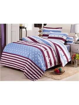 Top Class Warm Cotton Stars Stripe Print 4-Piece Duvet Cover Sets