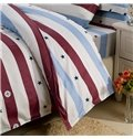Top Class Warm Cotton Stars Stripe Print 4-Piece Duvet Cover Sets