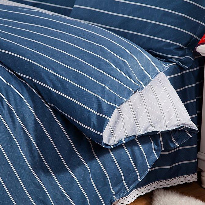 Stylish Concise White Stripe Blue 4-Piece Duvet Cover Sets