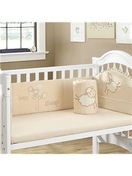 Adorable Little Sheep Pattern 4-piece Crib Bedding Set