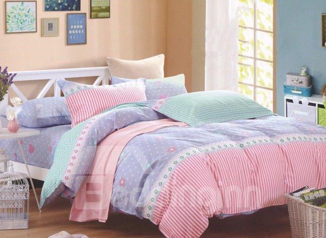 Sweet Dot Stripe Design Cotton 4-Piece Duvet Cover Sets