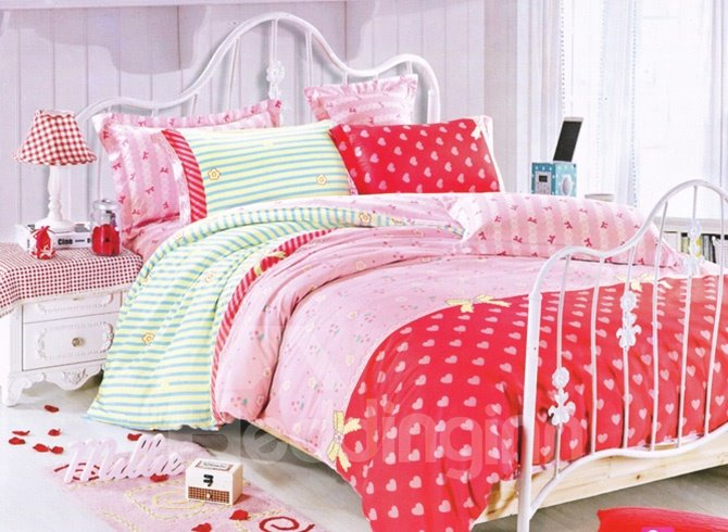 Romantic Sweet Heart Print 4-Piece Duvet Cover Sets