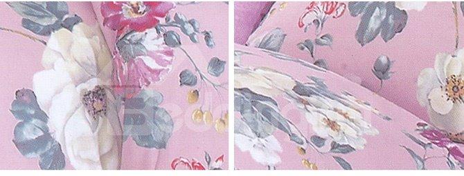 Elegant Adorable Flower Print Cotton Pink 4-Piece Cotton Duvet Cover