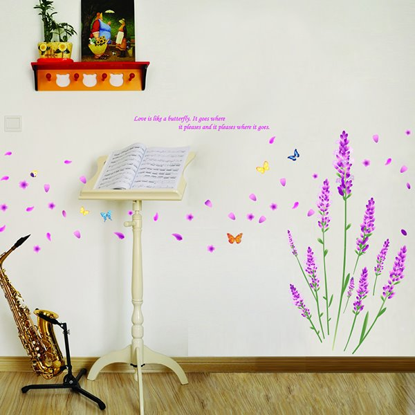 Romantic Purple Lavender Flowers and Butterfly Print Wall Stickers