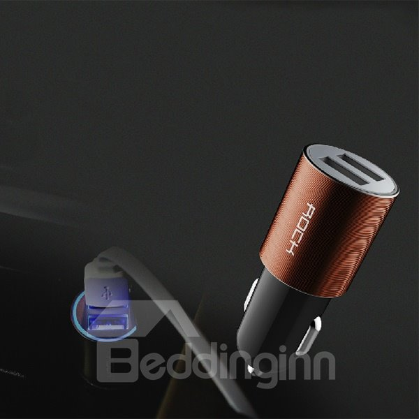 Excellent Designed Dural USB Port and Aluminium Alloy Surface Car Charger