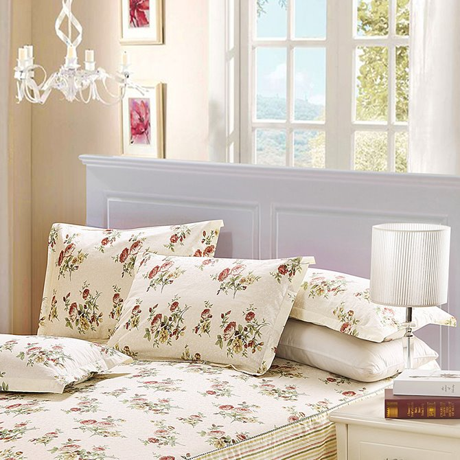 Pastoral Wild Flower 4-Piece Cotton Duvet Cover Sets