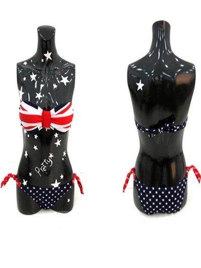 Trendy Sexy Flag Pattern Strapless Bikini Set
