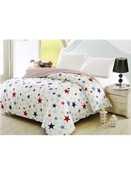 Chic Fresh Stars Print White Cotton 4-Piece Duvet Cover Sets