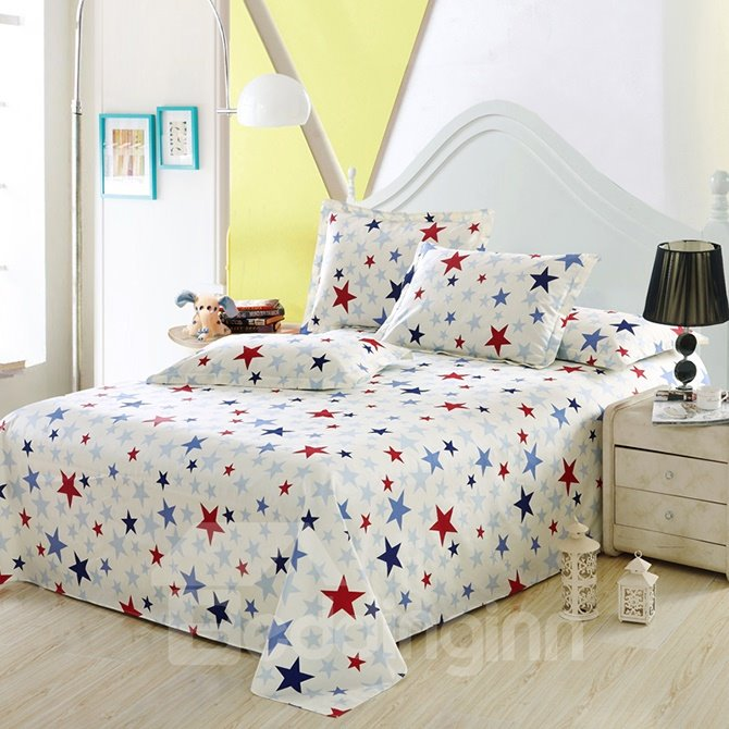 Chic Fresh Stars Print White Cotton 4-Piece Duvet Cover Sets