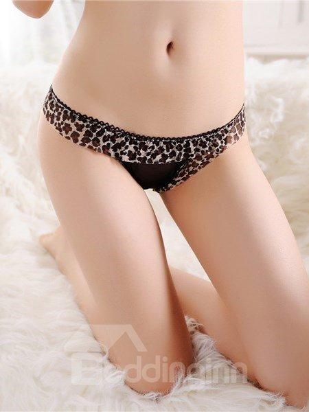 Sexy Leopard Cut Out Low Waist Lace Underwear