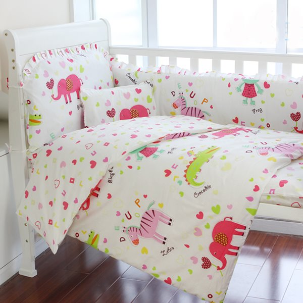 Super Cute Pink Elephant 10-Piece Crib Bedding Sets