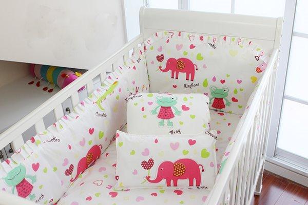 Super Cute Pink Elephant 10-Piece Crib Bedding Sets