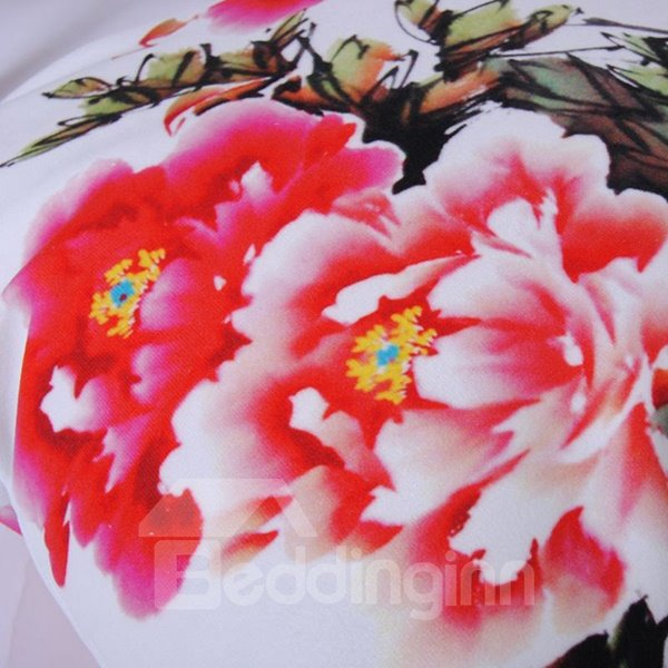 Chinoiserie Peony Digital Printing Polyester Throw Pillowcase