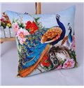 Attractive Peacock with Peony Pattern Throw Pillowcase