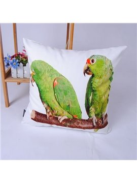 Adorable Green Couple Parrot Polyester Throw Pillowcase