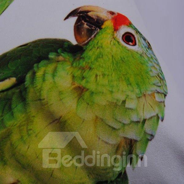 Adorable Green Couple Parrot Polyester Throw Pillowcase