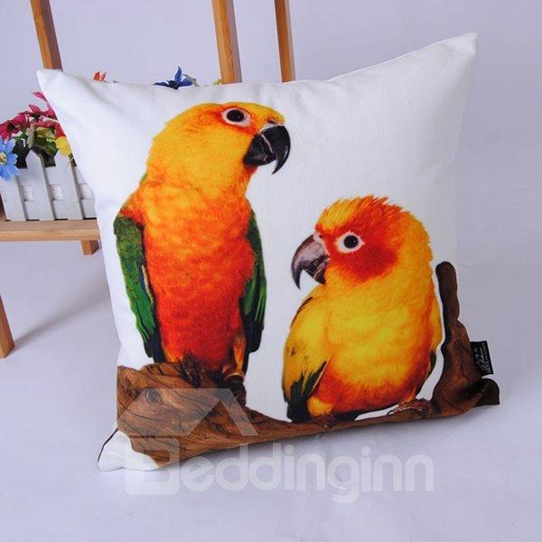 Vigorous Orange Parrot Digital Printing Throw Pillowcase
