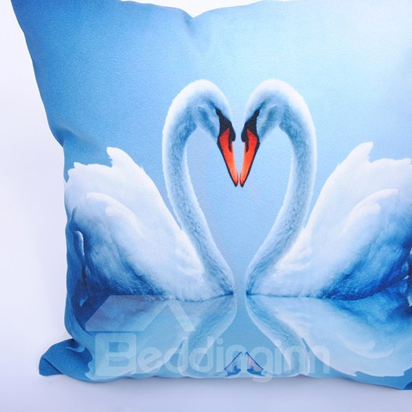Romantic Swan Couple Elegant Blue Digital Printing Throw Pillowcase