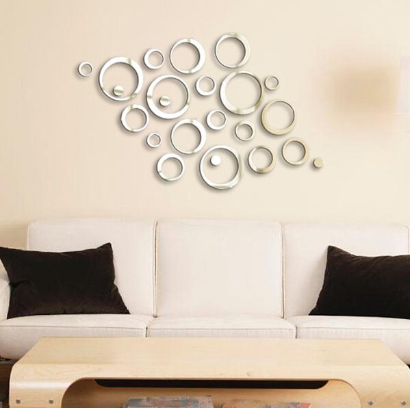 Unique Creative Crystal Mirror Circular DIY 3D Wall Sticker