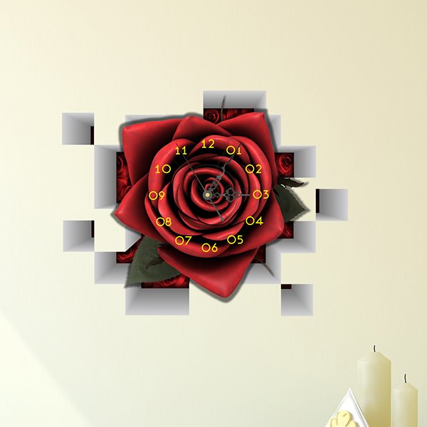Stunning and Creative Red Romantic Rose 3D Wall Sticker Home Decoration Wall Clock