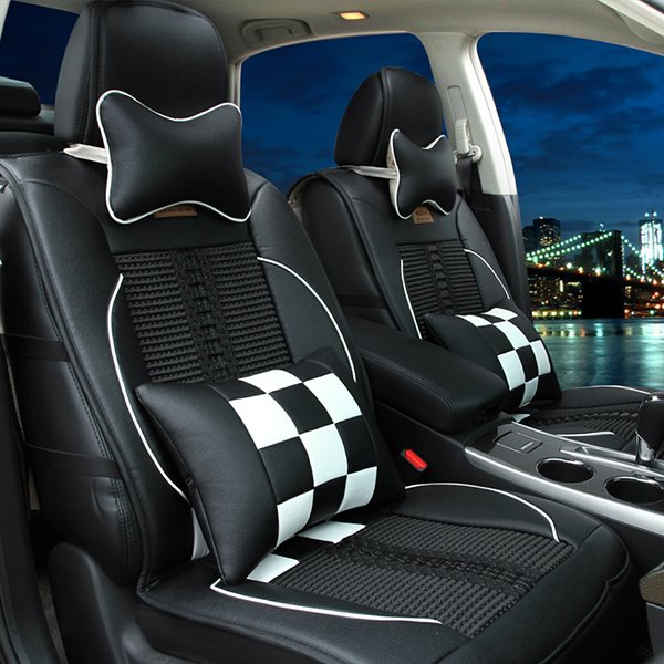 Super Cool and Fashionable Checkered Ice Silk Luxurious Car Seat Covers