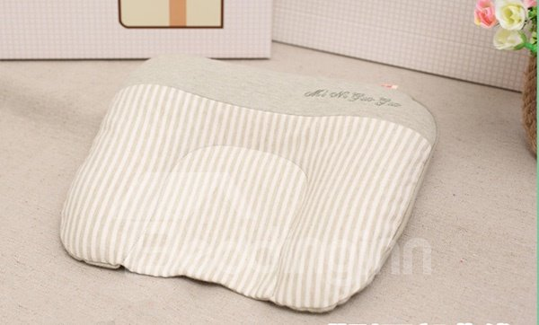 U-Shape Natural Colored Cotton Green Baby Flat Head Pillow