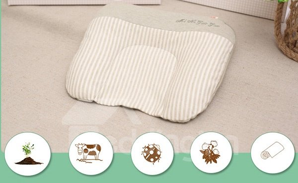 Prevent Flat Head ​U-Shape Natural Colored Cotton Green Baby Pillow