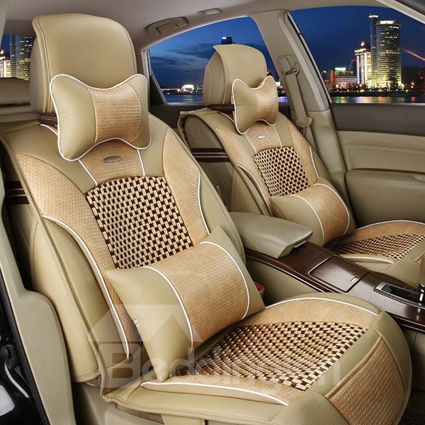 Elegant And Unique Leather Weaving Ice Silk Car Seat Covers