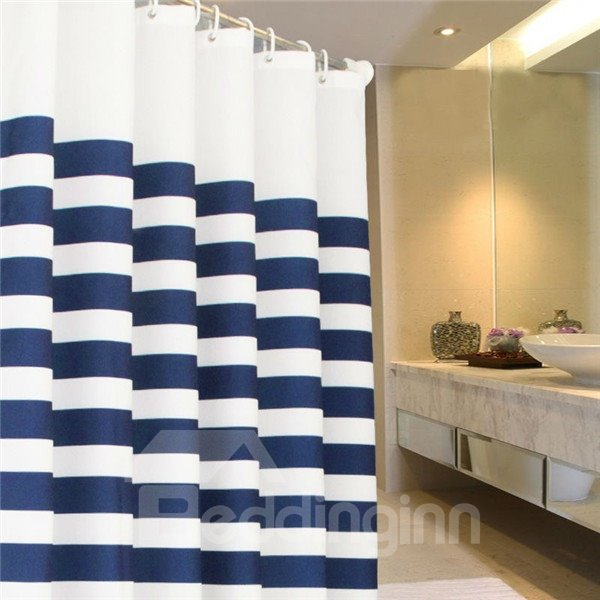 Stylish Blue and White Straps Bathroom Shower Curtain