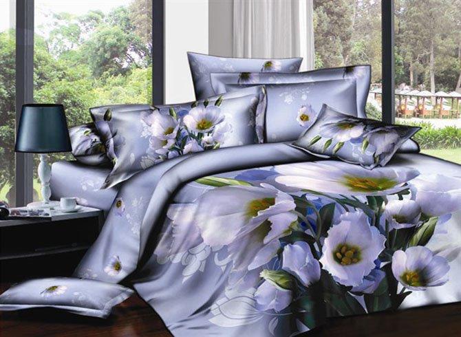Fresh Flower Printing Noble Purple Cotton 2-Piece Pillow Cases