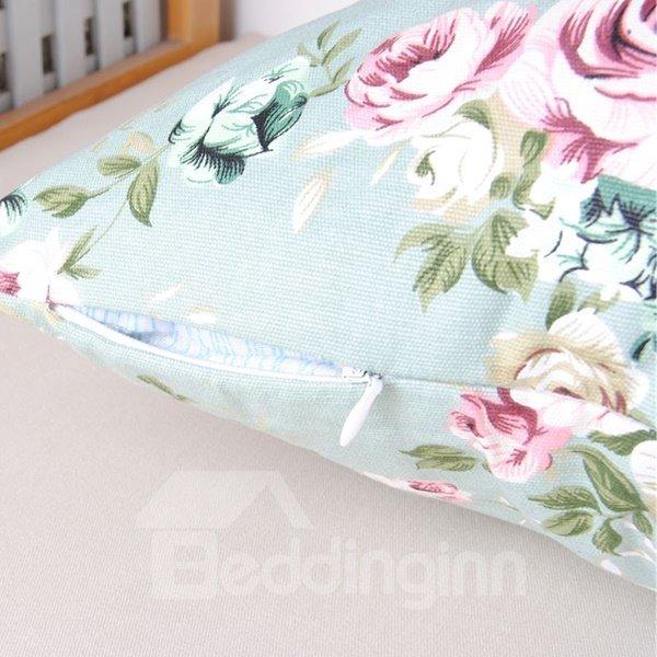 Rural Pastoral Style Pink Flower Refreshing Blue Cotton Throw Pillowcase