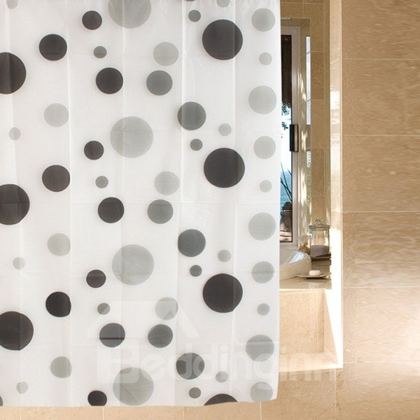 Charming Simple Gray Dots Waterproof Shower Curtain