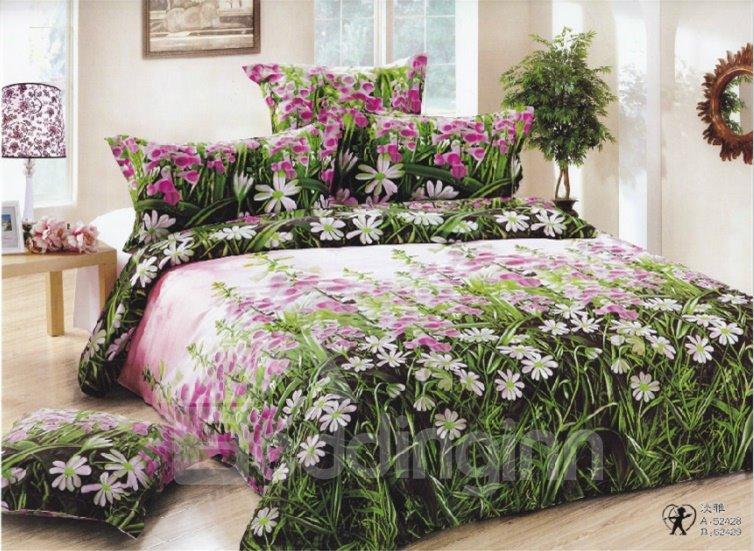 Fresh Grass Wild Flower Cotton Flat Sheet