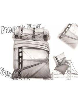 Modern Cable-Stayed Bridge Print Cotton 4-Piece Duvet Cover Sets