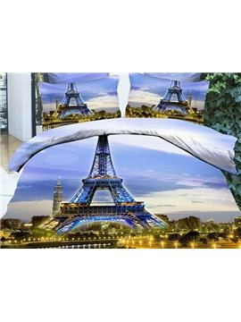 Vogue Famous Eiffel Tower Print 4-Piece Duvet Cover Sets