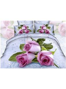 Fancy Roses Water Drop Cotton 4-Piece Duvet Cover Sets