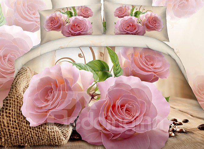 3D Pink Rose and Green Leaves Cotton 4-Piece Bedding Sets/Duvet Covers