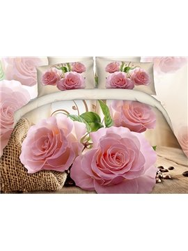 Exotic Fragrant Pink Flowers 4-Piece Duvet Cover Sets