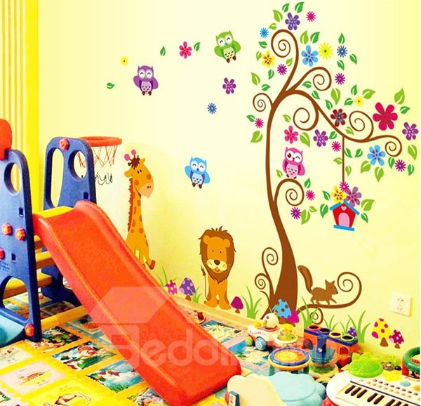 Vivid Cartoon Tree and Animals Wall Sticker for Baby&Kids