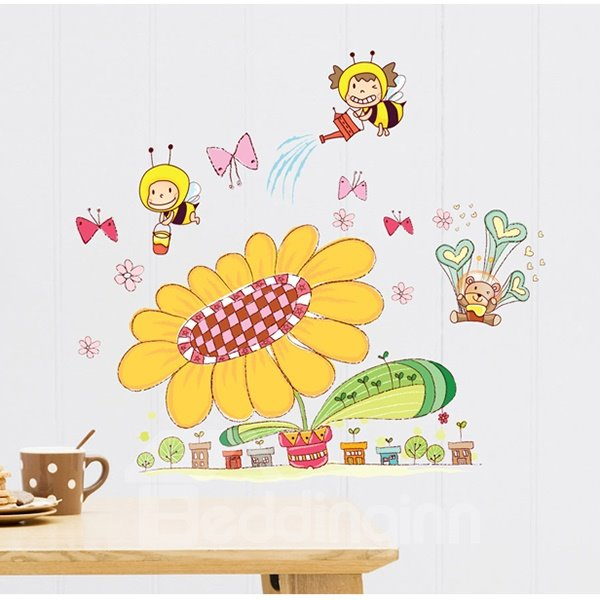 Super Cute Sun Flowers And Honey Bees Children