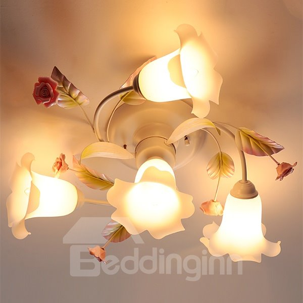 Gorgeous 4-Head Magnolia Flower with Roses Decoration Pendant Light