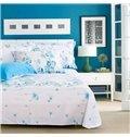 Graceful Blue Wild Flowers Comfy Cotton 4-Piece Duvet Cover Sets