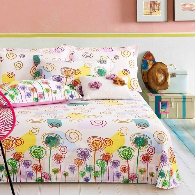 Creative Lightful Colorful Plant Print 4-Piece Duvet Cover Sets
