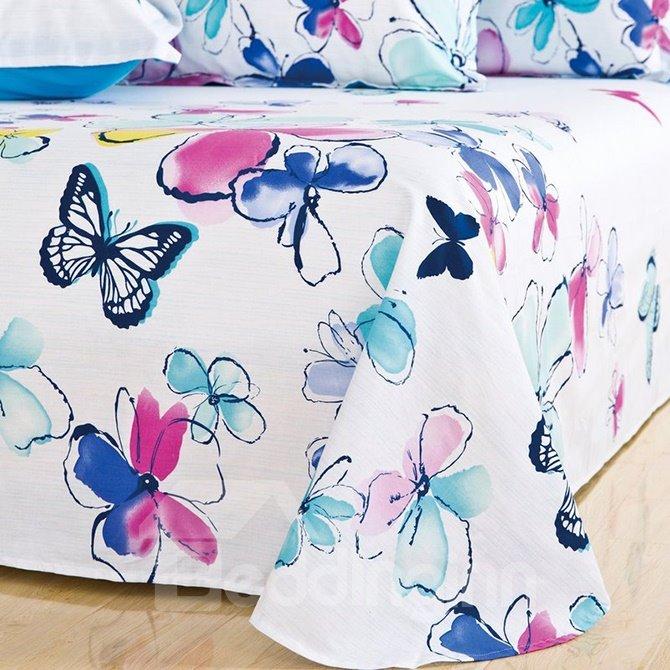 Elegant Butterflies & Colorful Flowers Printing 4-Piece Cotton Duvet Cover Sets