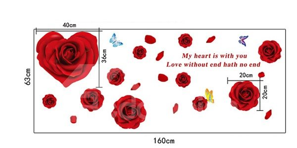 Glamorous Romantic Red Roses Removable Wall Sticker
